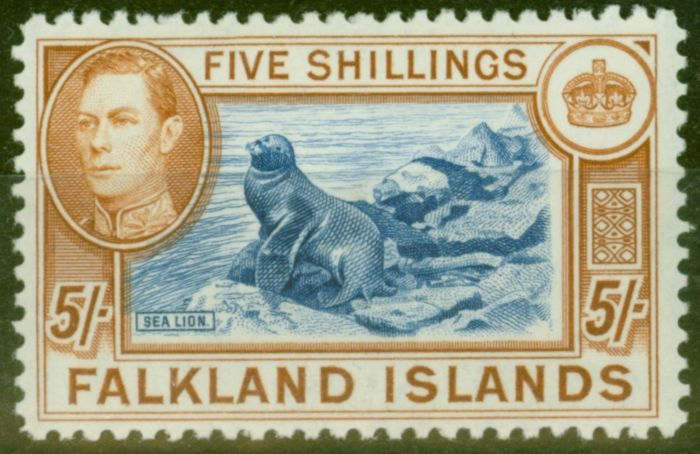 Valuable Postage Stamp from Falkland Is 1938 5s Blue & Chestnut SG161 Fine Very Lightly Mtd Mint