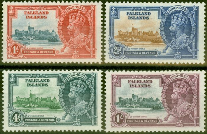 Collectible Postage Stamp from Falklands Islands 1935 Jubilee set of 4 SG139-142 Fine Very Lightly Mtd Mint