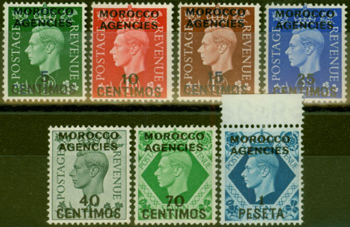 Collectible Postage Stamp from Morocco Agencies 1937-52 set of 7 SG165-171 Fine & Fresh Mtd Mint