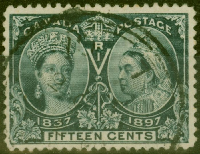Rare Postage Stamp from Canada 1897 15c Slate SG132 Fine Used
