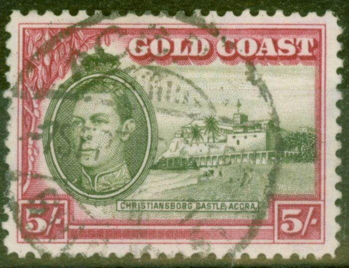 Rare Postage Stamp from Gold Coast 1938 5s Olive-Green & Carmine SG131 P.12 Fine Used