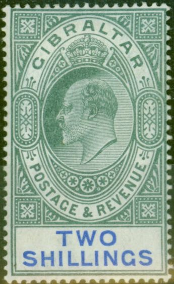 Old Postage Stamp from Gibraltar 1903 2s Green & Blue SG52 Fine & Fresh Mtd Mint