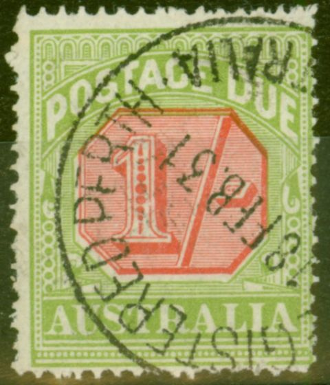 Collectible Postage Stamp from Australia 1923 1s Scarlet & Pale Yellow-Green SGD85 Fine Used