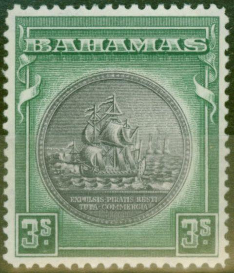Valuable Postage Stamp from Bahamas 1931 3s Slate-Purple & Myrtle-Green SG132 V.F Lightly Mtd Mint