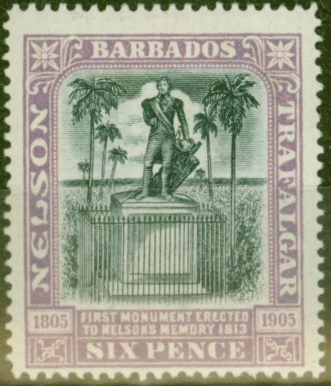 Collectible Postage Stamp from Barbados 1906 6d Black & Mauve SG150 Fine Mtd Mint