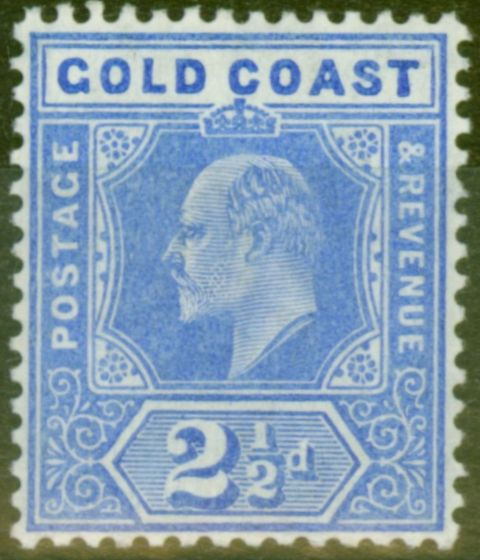 Rare Postage Stamp from Gold Coast 1907 2 1/2d Blue SG62 V.F Very Lightly Mtd Mint