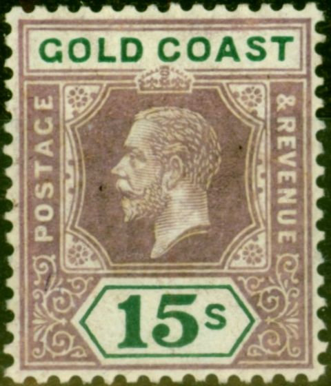 Rare Postage Stamp from Gold Coast 1921 15s Dull Purple & Green SG100 Die I Fine & Fresh Mtd Mint