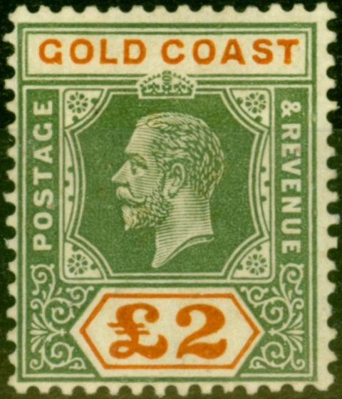 Collectible Postage Stamp from Gold Coast 1921 £2 Green & Orange SG102 Fine Mounted Mint