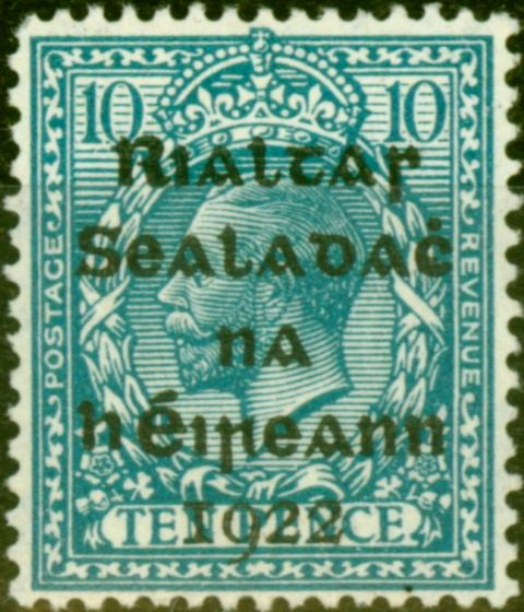 Collectible Postage Stamp from Ireland 1922 10d Turquoise-Blue SG42 Fine Lightly Mtd Mint