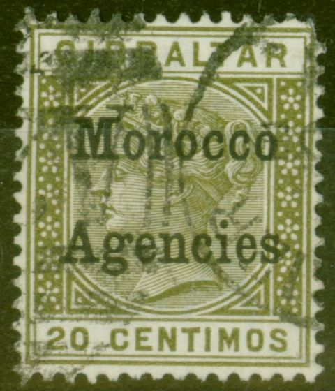 Collectible Postage Stamp from Morocco Agencies 1899 20c Olive-Green SG11d Flat Top to C in Centimo Fine Used