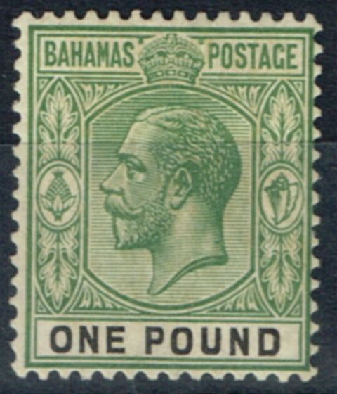 Rare Postage Stamp from Bahamas 1912 £1 Dull Green & Black SG89 Fine & Fresh Lightly Mtd Mint