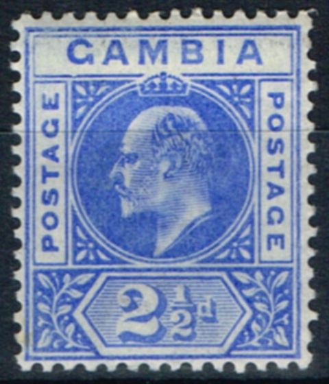 Collectible Postage Stamp from Gambia 1902 2 1/2d Ultramarine SG48a Dented Frame Fine Very Lightly Mtd Mint