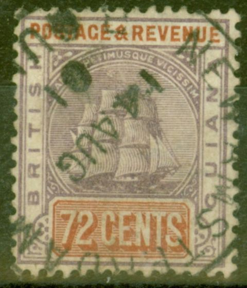 Collectible Postage Stamp from British Guiana 1889 72c Dull Purple & Yellow-Brown SG204 Fine Used