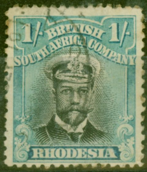 Valuable Postage Stamp from Rhodesia 1913 1s Black & Turq Blue SG233 Die II Good Used