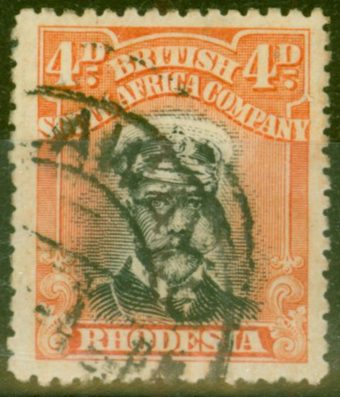 Collectible Postage Stamp from Rhodesia 1913 4d Black & Orange-Red SG211 Die I Fine Used