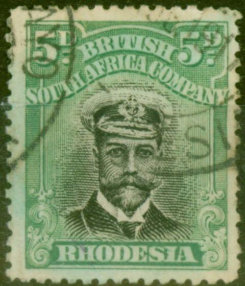 Valuable Postage Stamp from Rhodesia 1913 5d Black & Brt Green SG227 Die II Good Used