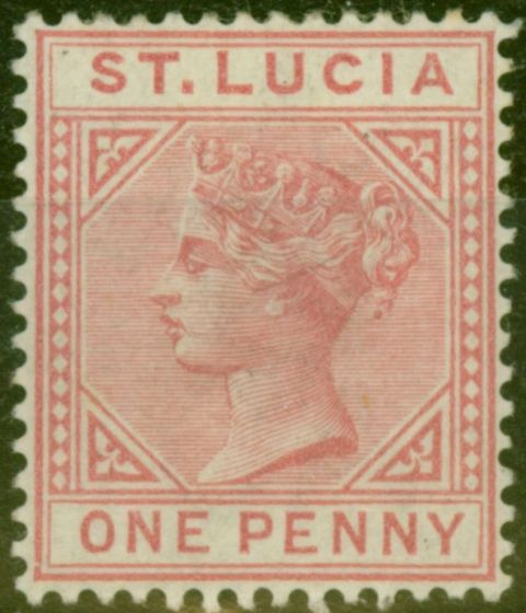 Rare Postage Stamp from St Lucia 1883 1d Carmine SG32 Die I Fine Mtd Mint
