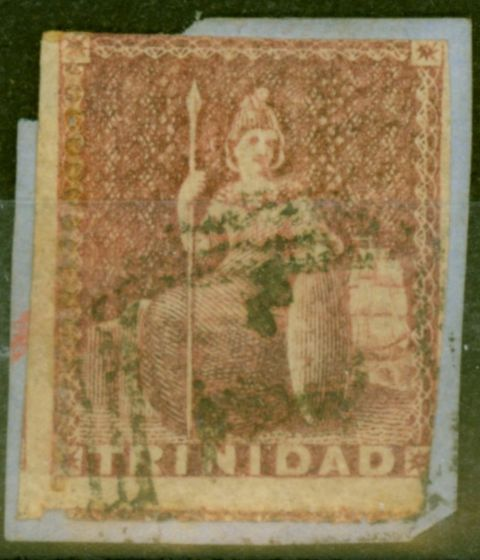 Collectible Postage Stamp from Trinidad 1859 Rose-Red SG38 Pin Perf 14 Good Used on Small Piece