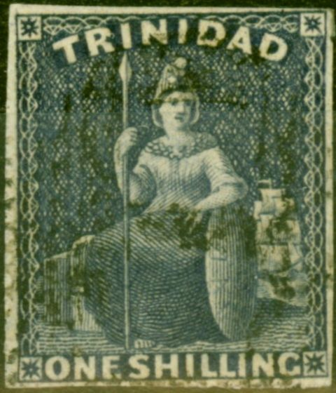 Rare Postage Stamp from Trinidad 1859 1s Purple-Slate SG44 Pin-Perf 14 Fine Used Example
