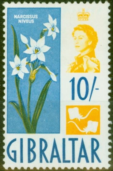 Valuable Postage Stamp from Gibraltar 1960 10s Yellow & Blue SG172 V.F Very Lightly Mtd MInt