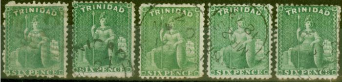 Collectible Postage Stamp from Trinidad 1869 set of 5 6d Shades SG72, 72a, 72b, 72c & 72d Fine Used