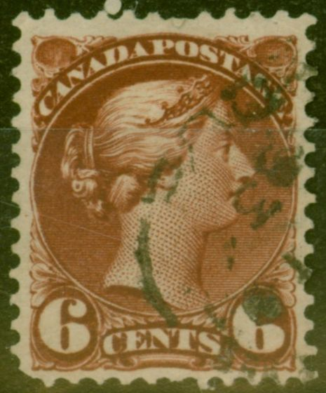 Rare Postage Stamp from Canada 1890 6c Dp Chestnut SG107 Fine Used