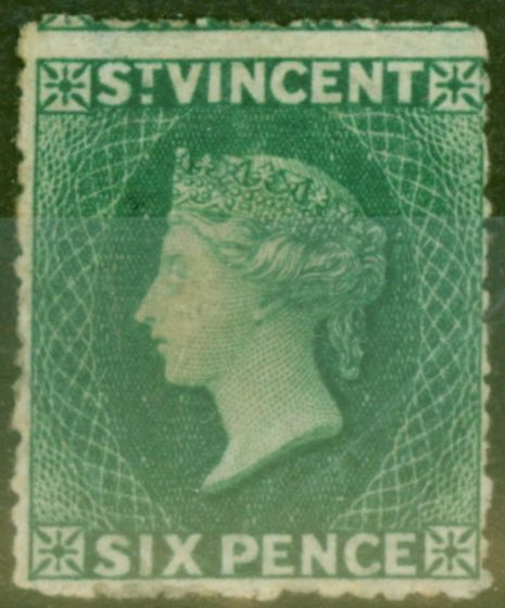 Collectible Postage Stamp from St Vincent 1873 6d Dull Blue-Green SG19 Ave Mtd Mint Scarce