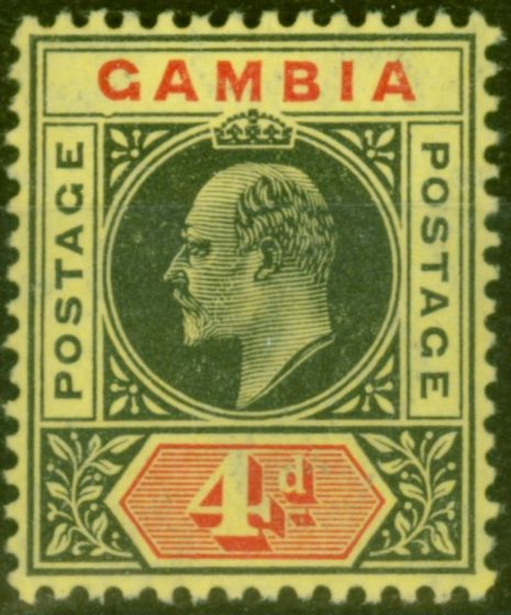 Old Postage Stamp from Gambia 1909 4d Black & Red-Yellow SG76a Dented Frame V.F Very Lightly Mtd Mint