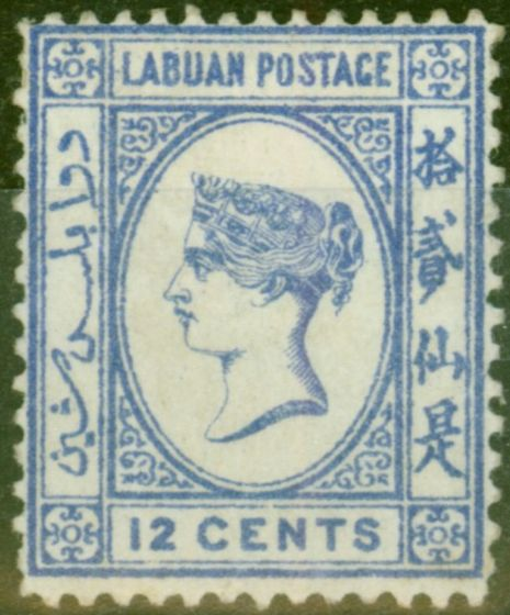 Valuable Postage Stamp from Labuan 1892 12c Brt Blue SG45a No Right Foot to 2nd Chinese Character Fine Mounted Mint