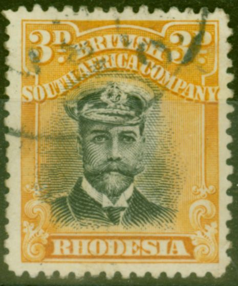 Old Postage Stamp from Rhodesia 1913 3d Black & Deep Yellow SG221 Die II Fine Used