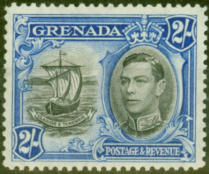 Valuable Postage Stamp from Grenada 1938 2s Black & Ultramarine SG161 Fine Lightly Mtd Mint