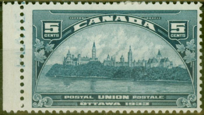 Rare Postage Stamp from Canada 1933 5c Blue SG329 V.F Very Lightly Mtd Mint