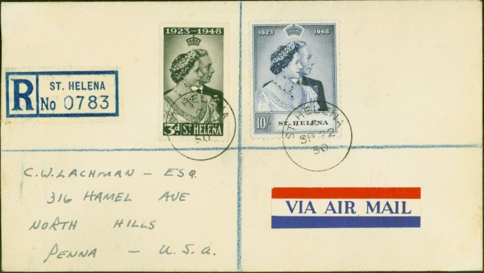 Collectible Postage Stamp from St Helena 1950 RSW set of 2 on Registered Cover to PENNA USA GLENSIDE & N.Y Airmail Field Back Stamps Fine & Attractive