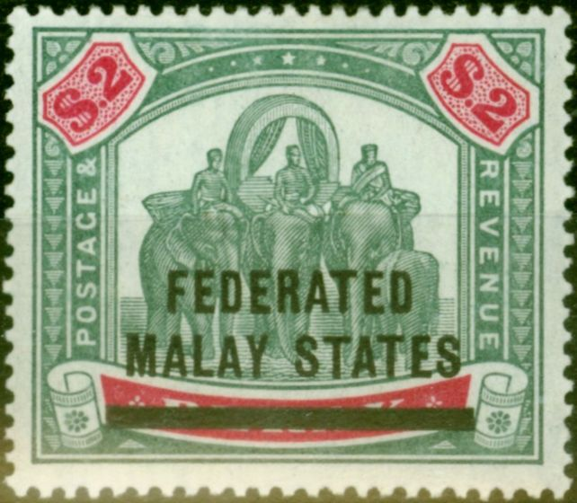 Collectible Postage Stamp from Fed of Malay States 1900 $2 Green & Carmine SG12 Fine & Fresh Mtd Mint