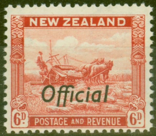 Valuable Postage Stamp from New Zealand 1941 6d Scarlet SG0127b P.12.5 Opt at Bottom V.F MNH