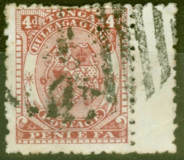 Collectible Postage Stamp from Tonga 1892 4d Chestnut SG12 Fine Used