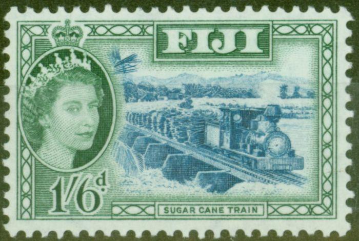 Old Postage Stamp from Fiji 1952 1s6d Blue & Myrtle-Green SG290 V.F MNH