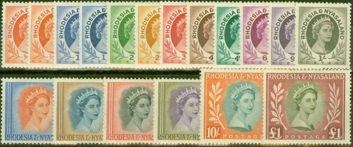 Old Postage Stamp from Rhodesia & Nyasaland 1954-56 set of 18 SG1-15 Fine Very Lightly Mtd Mint