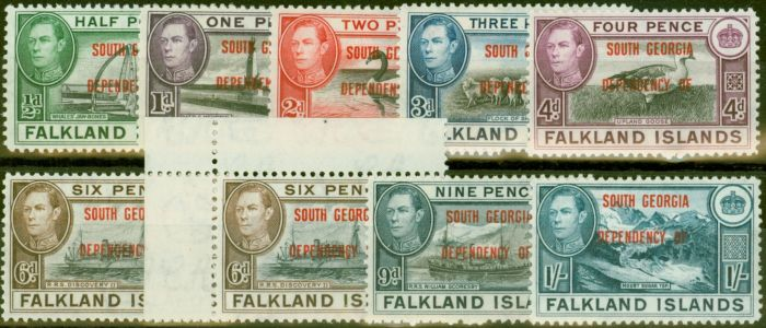 Rare Postage Stamp from South Georgia 1944-45 set of 9 SGB1-B8 Both 6d`s V.F Very Lightly Mtd Mint