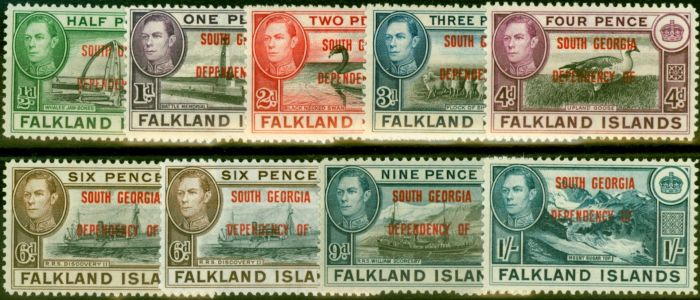Valuable Postage Stamp from South Georgia 1944-45 Set of 9 SGB1-B8 Includes Both 6d Good MNH