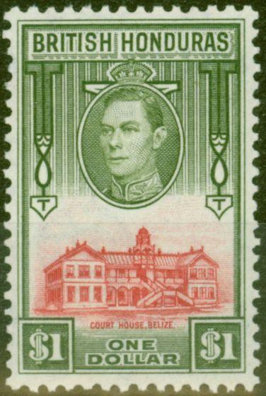Old Postage Stamp from British Honduras 1938 $1 Scarlet & Olive SG159 V.F Very Lighlty Mtd Mint