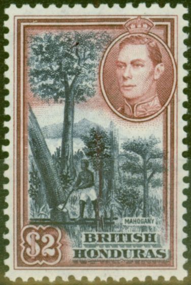Collectible Postage Stamp from British Honduras 1938 $2 Dp Blue & Maroon SG160 V.F Very Lighlty Mtd Mint