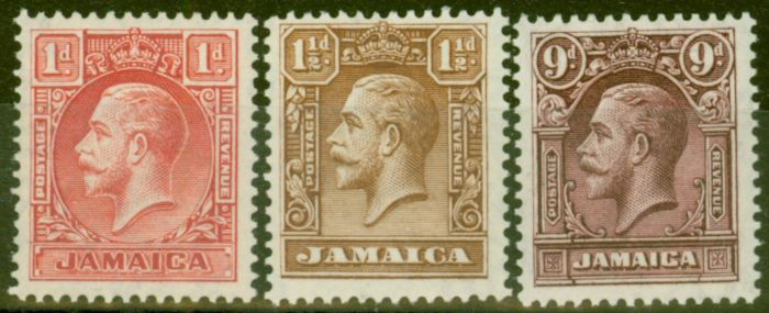 Old Postage Stamp from Jamaica 1929 set of 3 SG108-110 V.F Very Lightly Mtd Mint