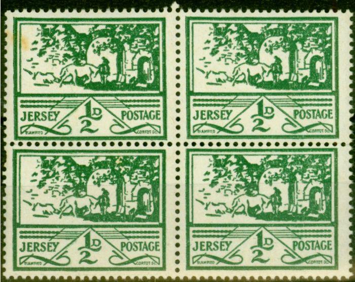 Jersey 1943 1/2d Green SG3 Fine MNH Block of 4