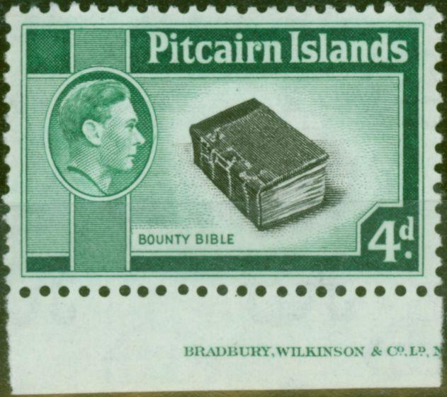 Old Postage Stamp from Pitcairn Islands 1951 4d Black & Emerald-Green SG5b V.F MNH Part Imprint
