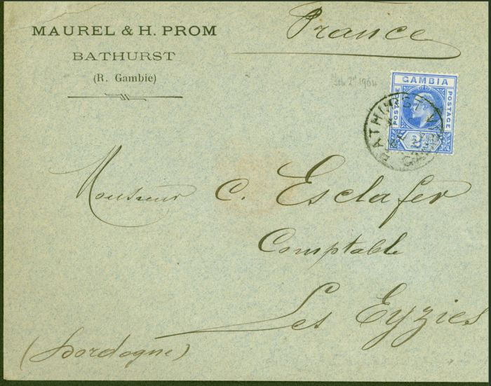 Collectible Postage Stamp from Gambia 1904 Cover to France Bearing 1902 2 1/2d Fine Strike of Bathurst FE 2 04 CDS
