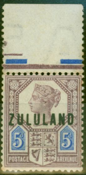 Old Postage Stamp from Zululand 1893 5d Dull Purple & Blue SG7 Fine Lightly Mtd Mint