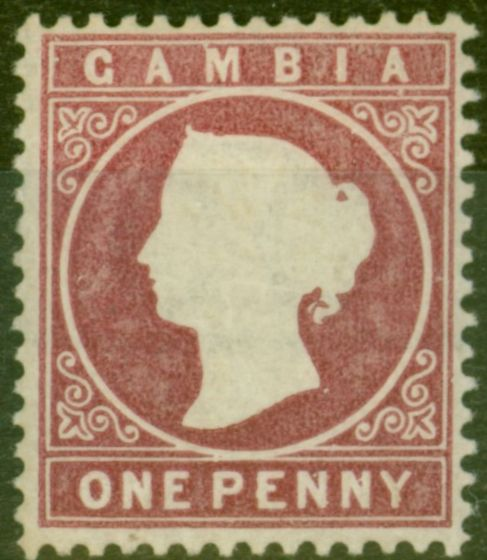 Valuable Postage Stamp from Gambia 1880 1d Maroon SG12b Fine Lightly Mtd Mint