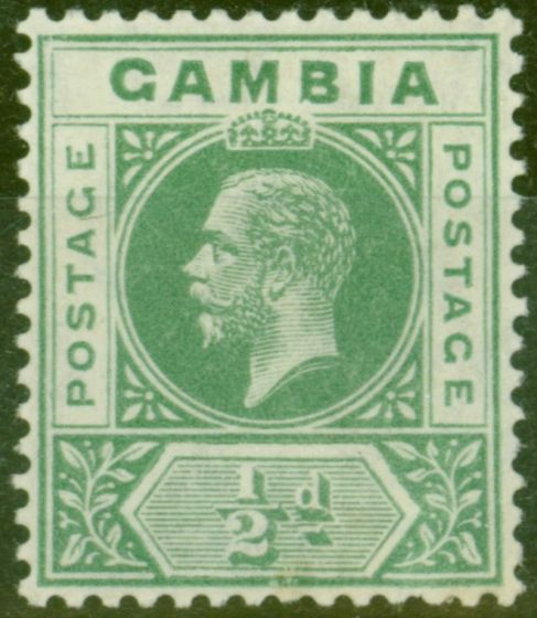 Rare Postage Stamp from Gambia 1912 1/2d Green SG86avar Deformed B in GAMBIA Fine Very Lightly Mtd Mint