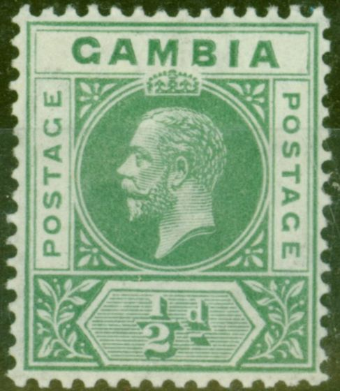 Valuable Postage Stamp from Gambia 1912 1/2d Green SG86avar Deformed B in GAMBIA V.F Very Lightly Mtd Mint